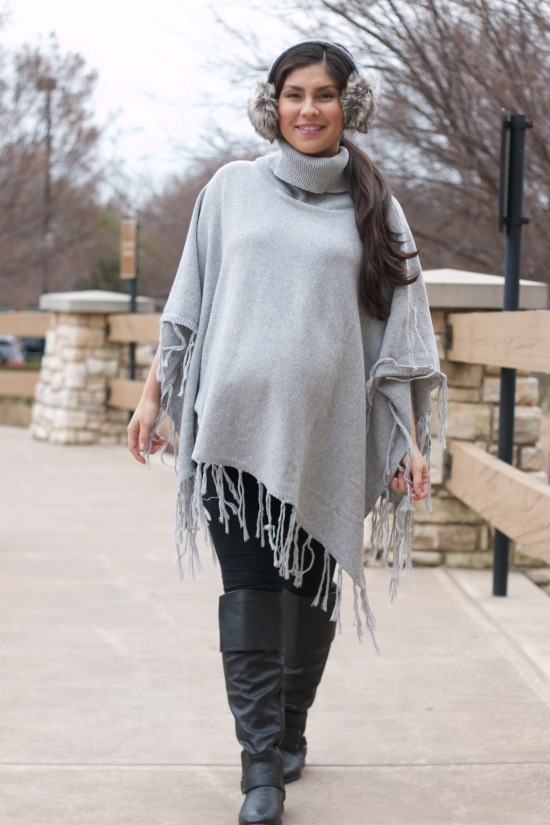 Ear muffs: Nordstrom Rack / Pancho: c/o Pink Blush Maternity / Leggings & Boots: Ross
