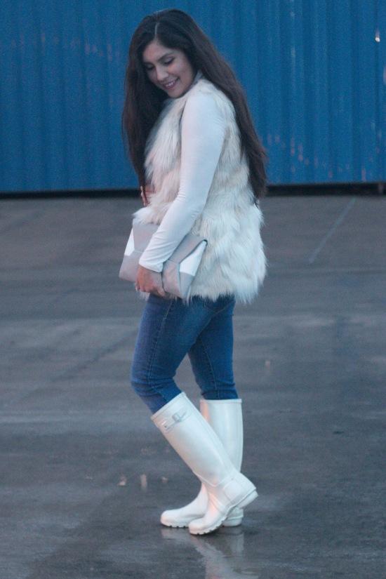 Fur Vest: Steve Madden   Top: Nordstrom Rack   Jean s: Target   Rain Boots: Hunter