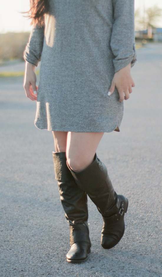 Sunglasses: Jessica Simpsom via Marshalls   Dress: Target   Boots: Ross