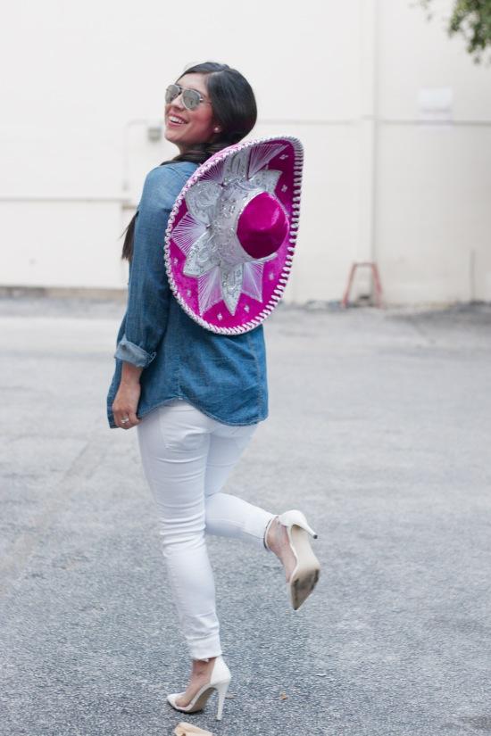 Sombrero: Walmart | Sunglasses: Betsey Johnson |Tank & Denim YTop: Target | Skinny Jeans: H&M | Heels: Nordstrom Rack