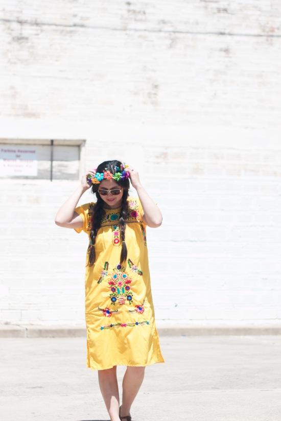 Flower Crown & Dress: Walmart | Sunglasses: Steve Madden : Sandals: Nordstrom Rack