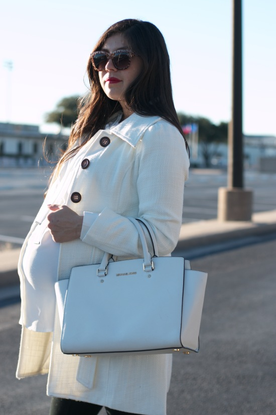 Sunglasses: Cotton On / Coat: Pink Blush Maternity / Blouse & Leggings: Mossimo / Purse: Michael Khors / Booties: Franco Sarto